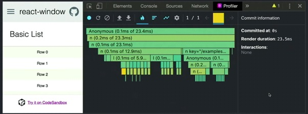 Time it takes to render each component.